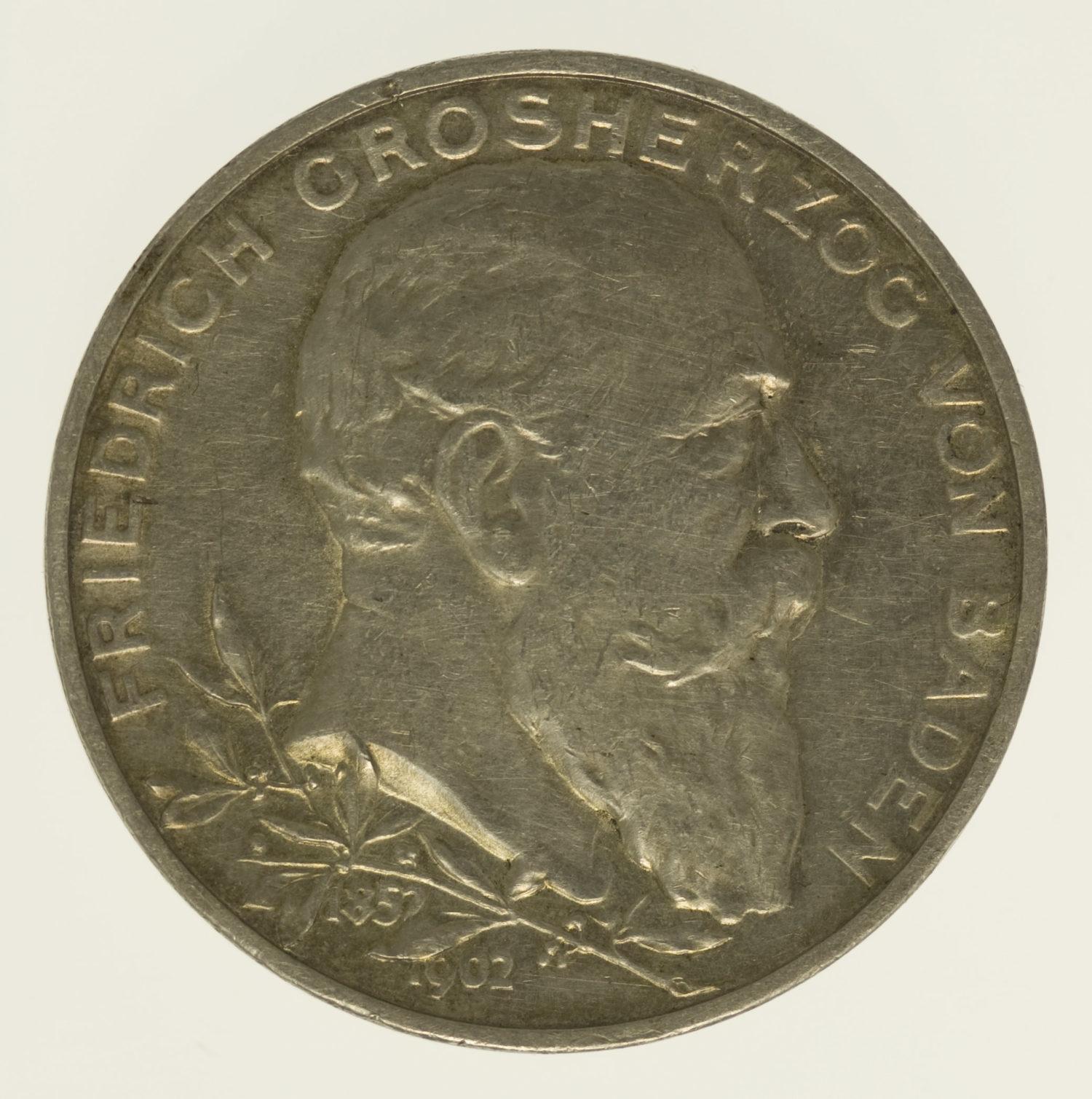 deutsches-kaiserreich-ab-1871-deutsche-silbermuenzen - Baden Friedrich I. 5 Mark 1902
