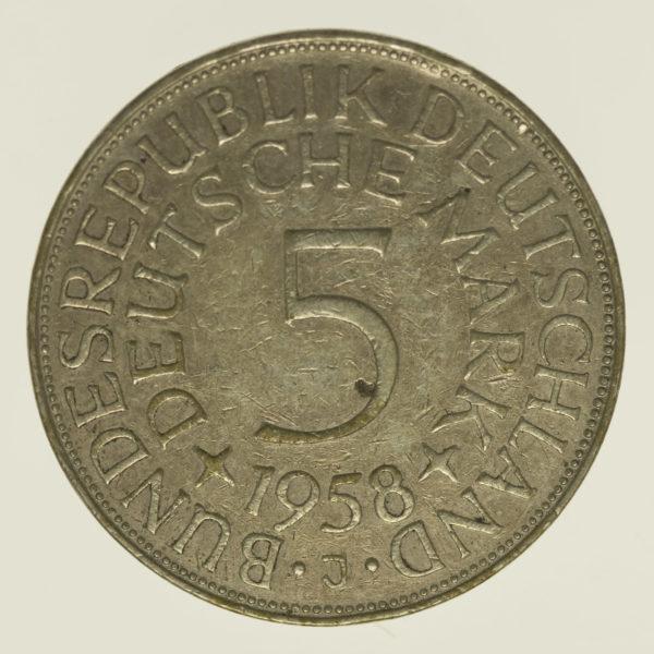 brd-deutsche-silbermuenzen - BRD 5 Mark 1958 J