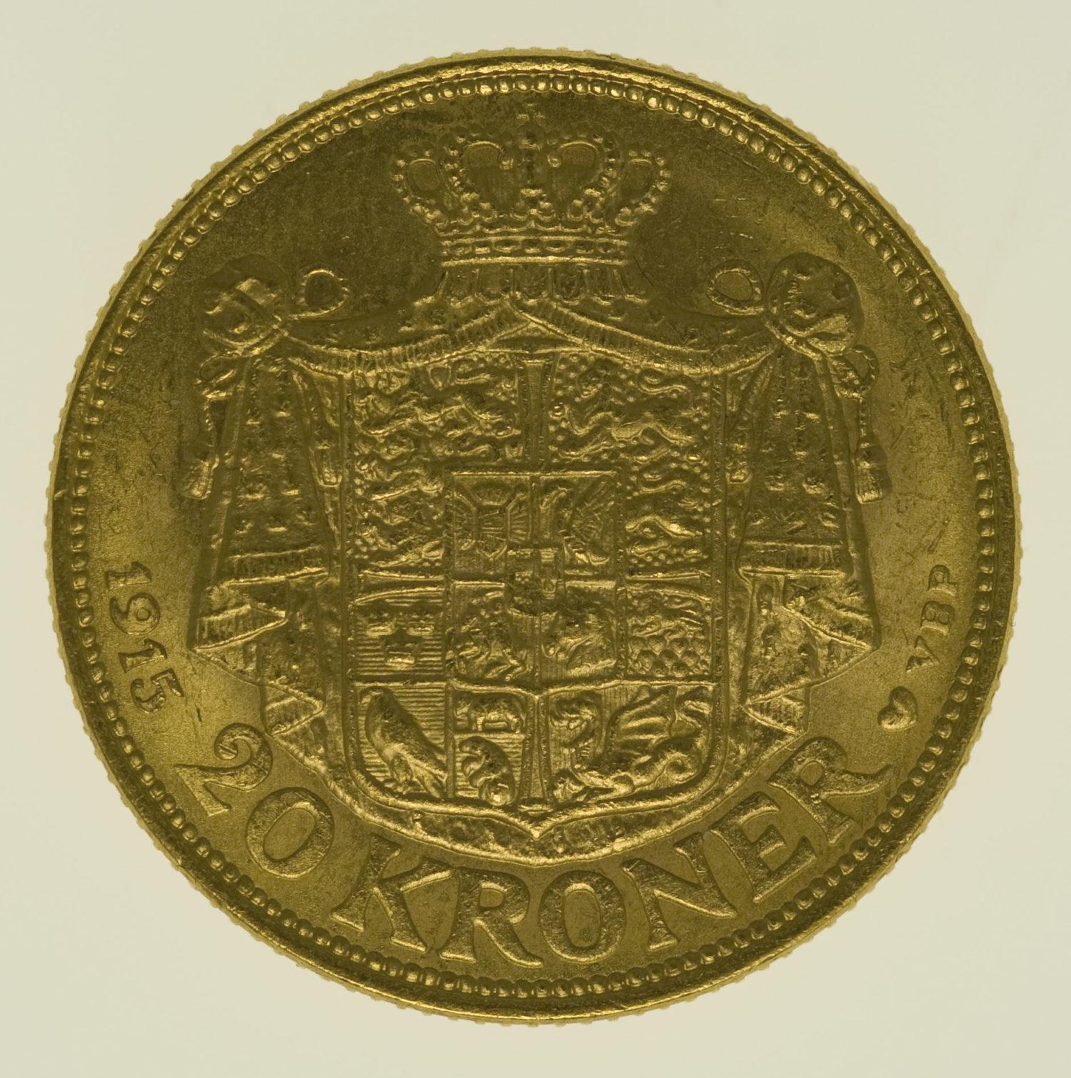 daenemark - Dänemark Christian X. 20 Kronen1915