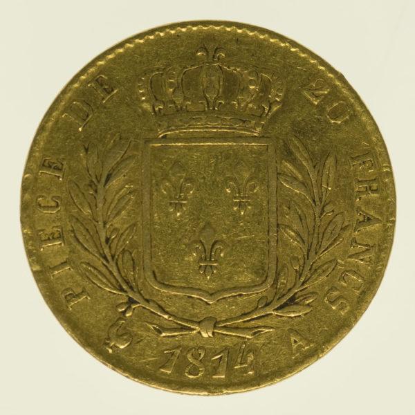 frankreich - Frankreich Louis XVIII. 20 Francs 1814 A