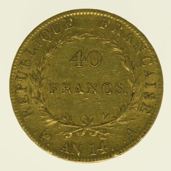 frankreich - Frankreich Napoleon I. 40 Francs AN 14 A