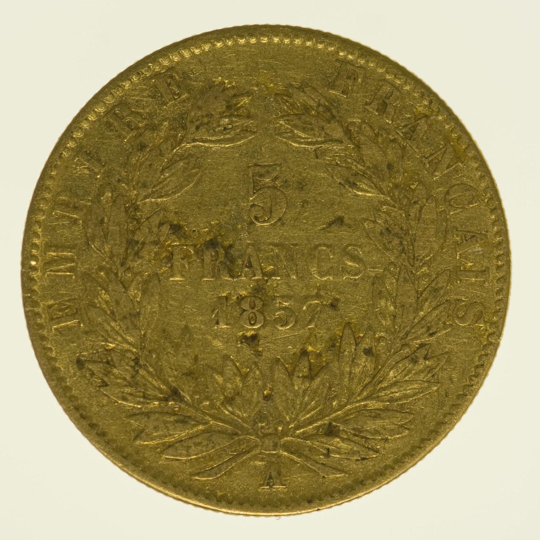 frankreich - Frankreich Napoleon III. 5 Francs 1857