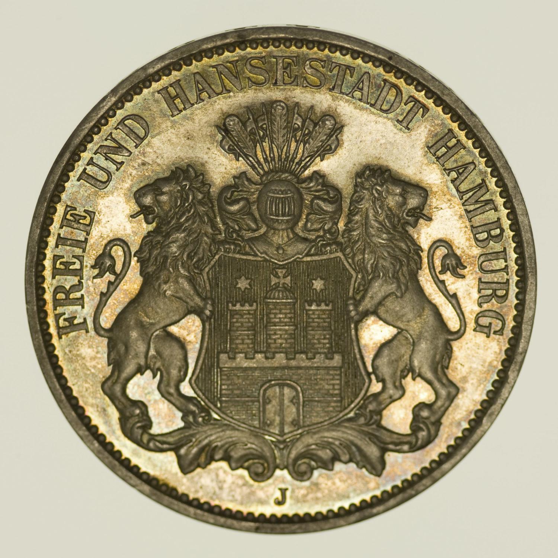 deutsches-kaiserreich-ab-1871-deutsche-silbermuenzen - Hamburg Stadtwappen 3 Mark 1908