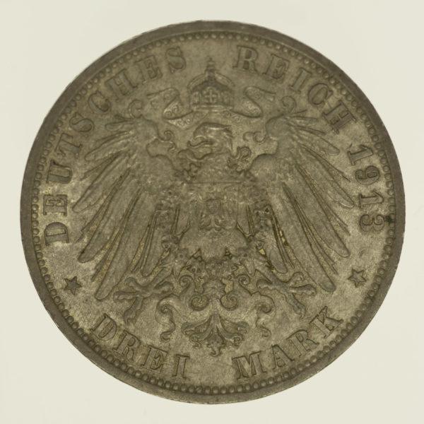 deutsches-kaiserreich-ab-1871-deutsche-silbermuenzen - Lippe Leopold IV. 3 Mark 1913 A