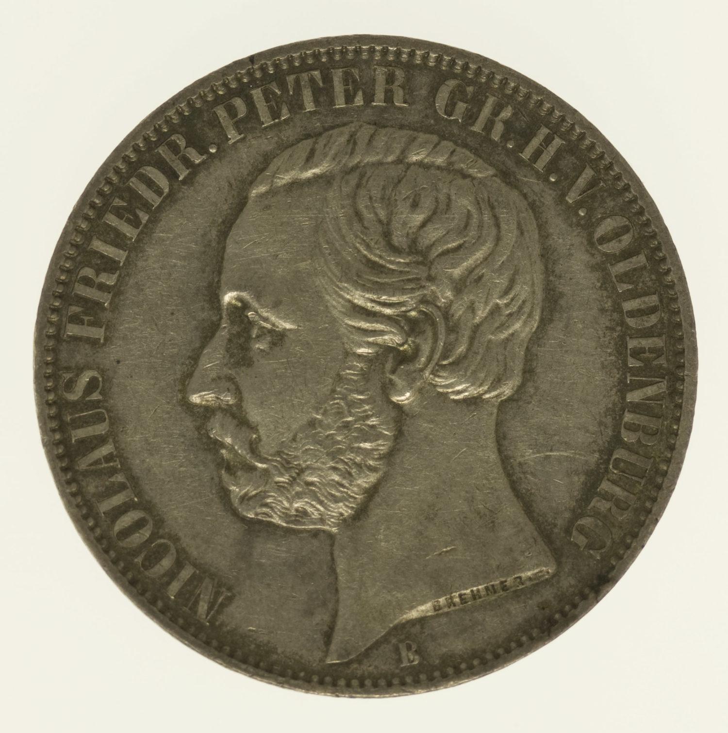 altdeutschland-deutsche-silbermuenzen - Oldenburg Nicolaus Friedrich Peter Vereinstaler 1866 B