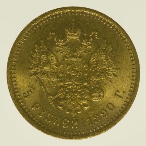 russland - RusslandAlexander III. 5 Rubel 1890