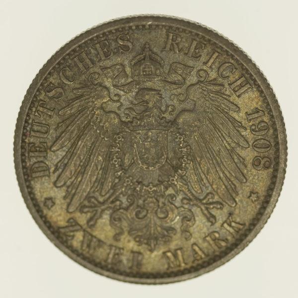 deutsches-kaiserreich-ab-1871-deutsche-silbermuenzen - Sachsen Weimar Eisenach Wilhelm Ernst 2 Mark 1908