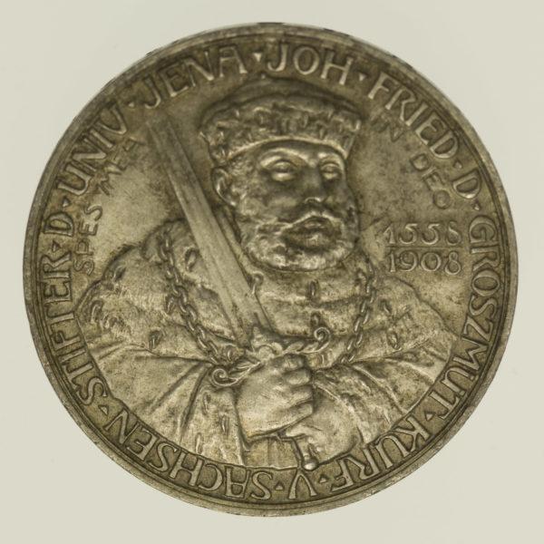 deutsches-kaiserreich-ab-1871-deutsche-silbermuenzen - Sachsen Weimar Eisenach Wilhelm Ernst 5 Mark 1908