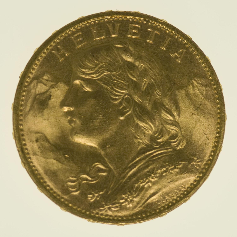 schweiz - Schweiz 20 Franken 1914 B Vreneli