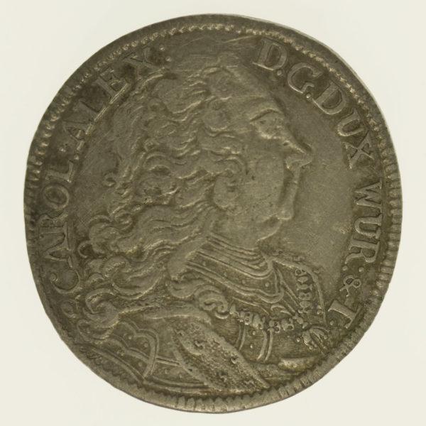 altdeutschland-deutsche-silbermuenzen - Württemberg Karl Alexander 30 Kreuzer 1735