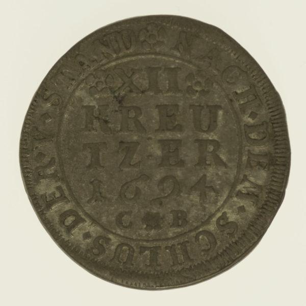 altdeutschland-deutsche-silbermuenzen - Mainz Anselm Franz von Ingelheim 12 Kreuzer 1694