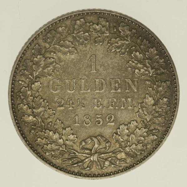 altdeutschland-deutsche-silbermuenzen - Preussen Friedrich Wilhelm IV. Gulden 1852