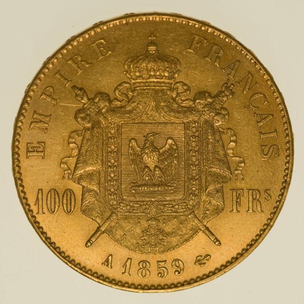 frankreich - Frankreich Napoleon III. 100 Francs 1859 A