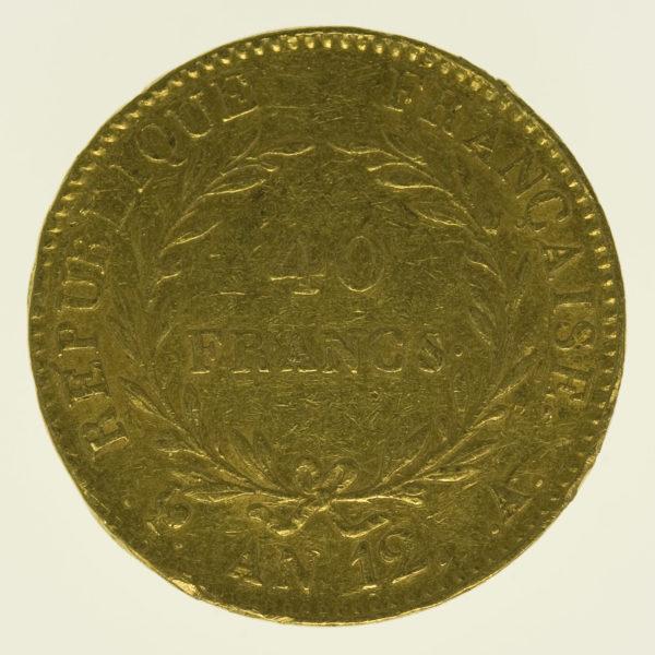 frankreich - Frankreich Bonaparte Premier Consul 40 Francs AN 12 A