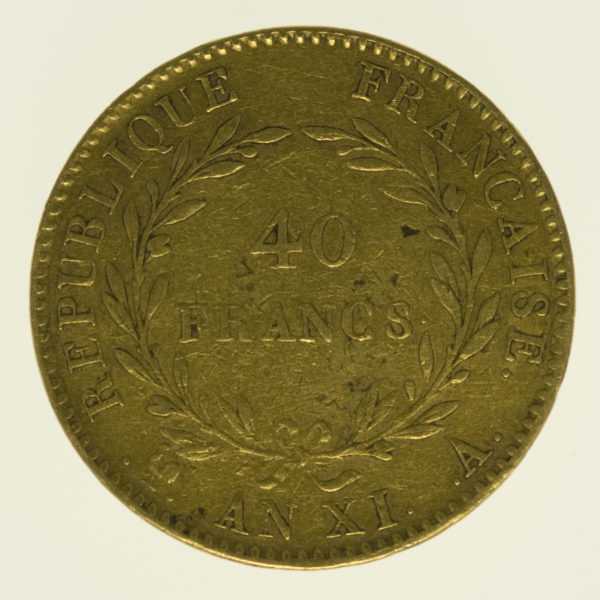 frankreich - Frankreich Bonaparte Premier Consul 40 Francs AN XI A