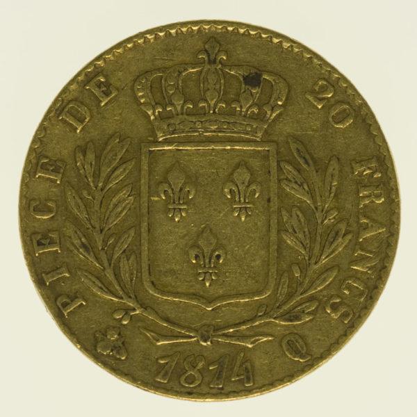 frankreich - Frankreich Louis XVIII. 20 Francs 1814 Q