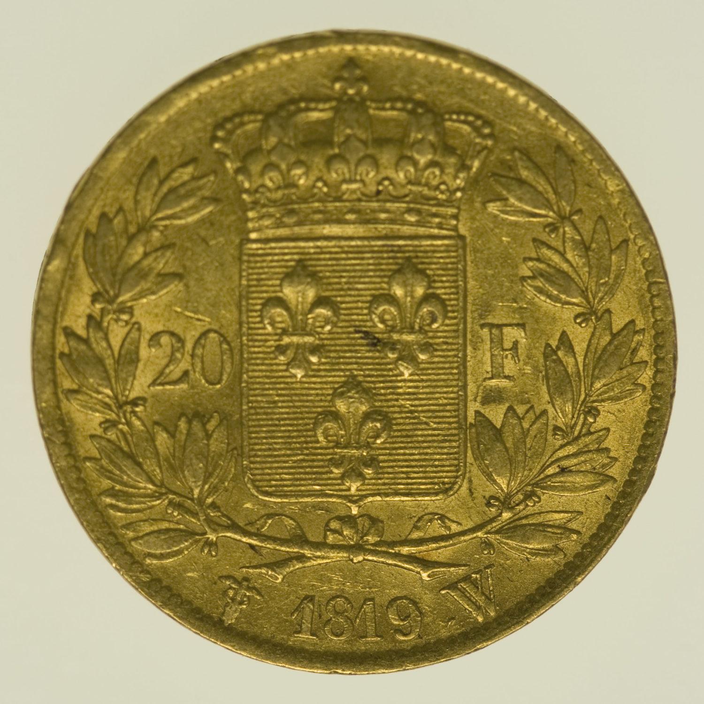 frankreich - Frankreich Louis XVIII. 20 Francs 1819 W