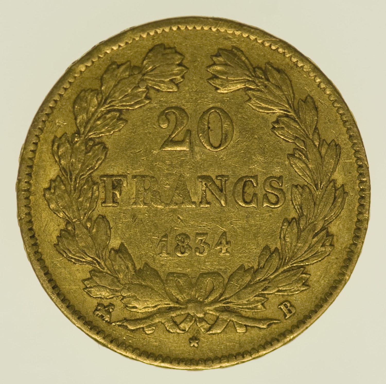 frankreich - Frankreich Louis Philippe I. 20 Francs 1834 B