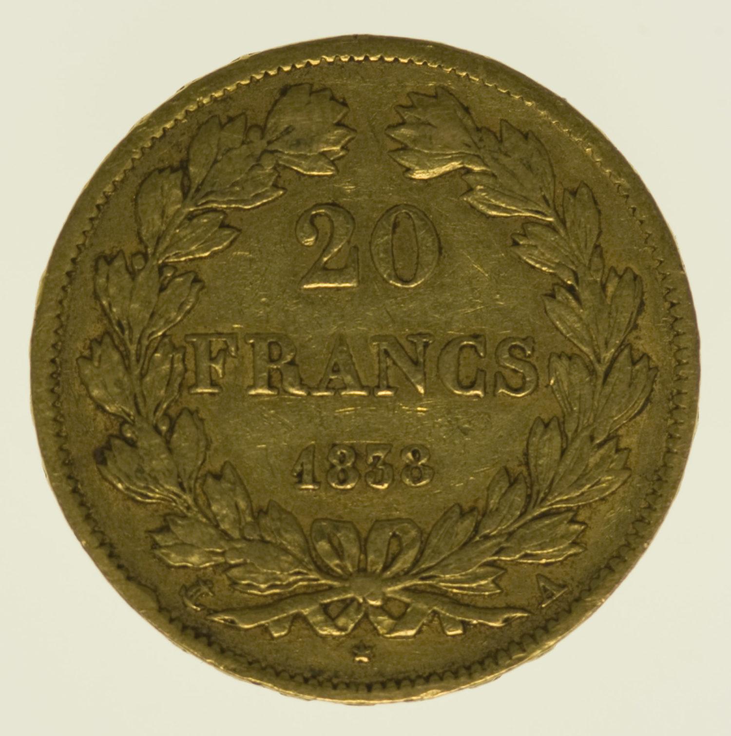 frankreich - Frankreich Louis Philippe I. 20 Francs 1838 A