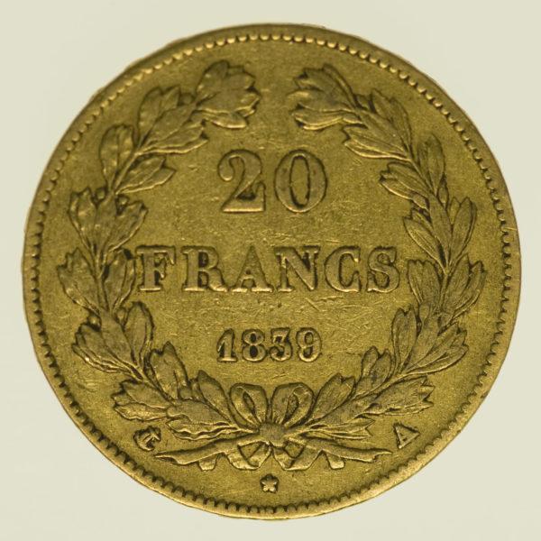 frankreich - Frankreich Louis Philippe I. 20 Francs 1839 A
