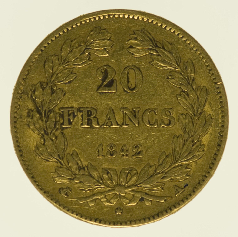 frankreich - Frankreich Louis Philippe I. 20 Francs 1842 A