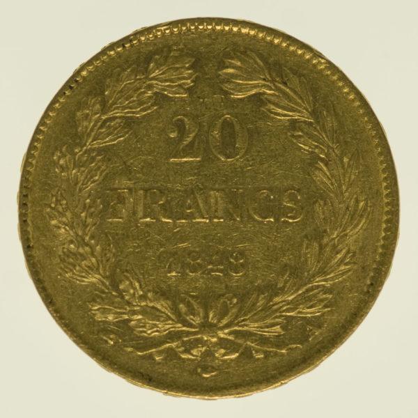 frankreich - Frankreich Louis Philippe I. 20 Francs 1848 A