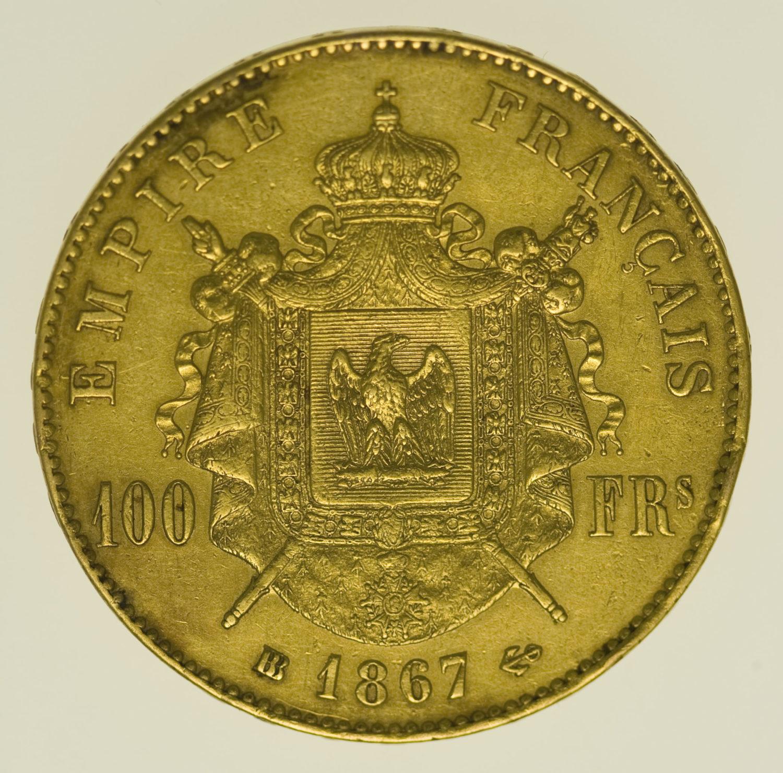 frankreich - Frankreich Napoleon III. 100 Francs 1867 BB