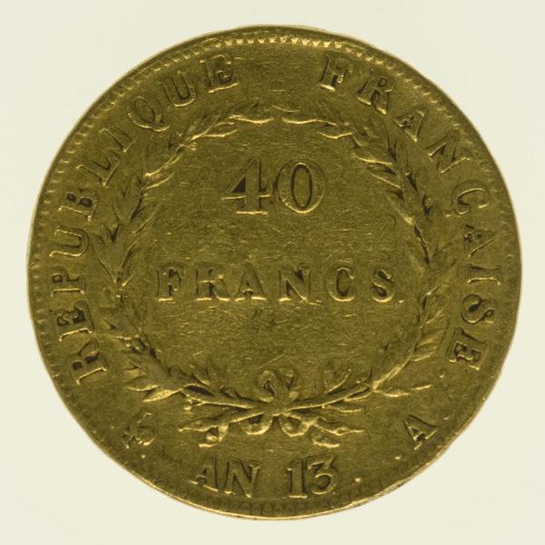 frankreich - Frankreich Napoleon I. 40 Francs AN 13 A