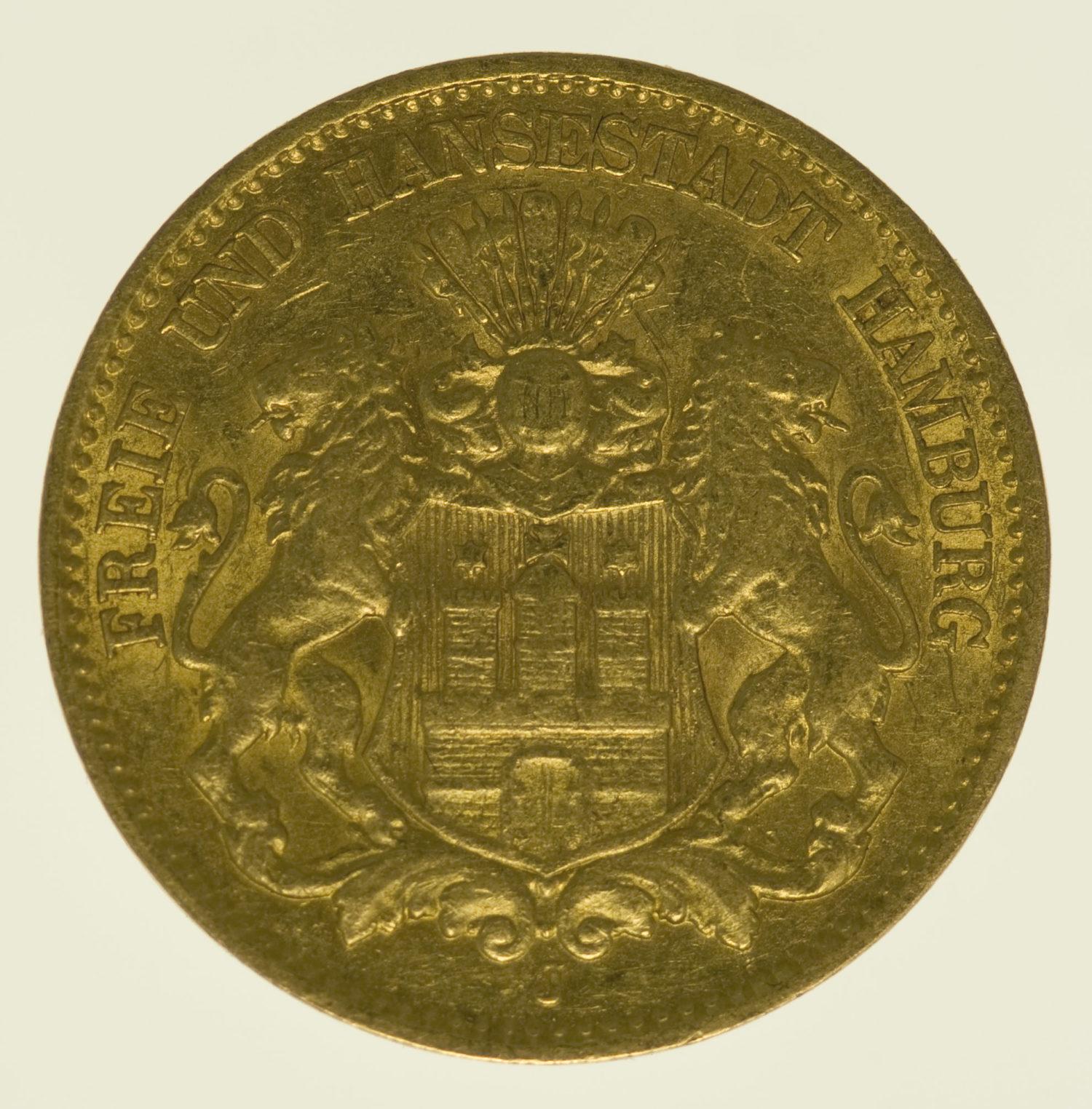 deutsches-kaiserreich-ab-1871 - Hamburg Stadtwappen 10 Mark 1896