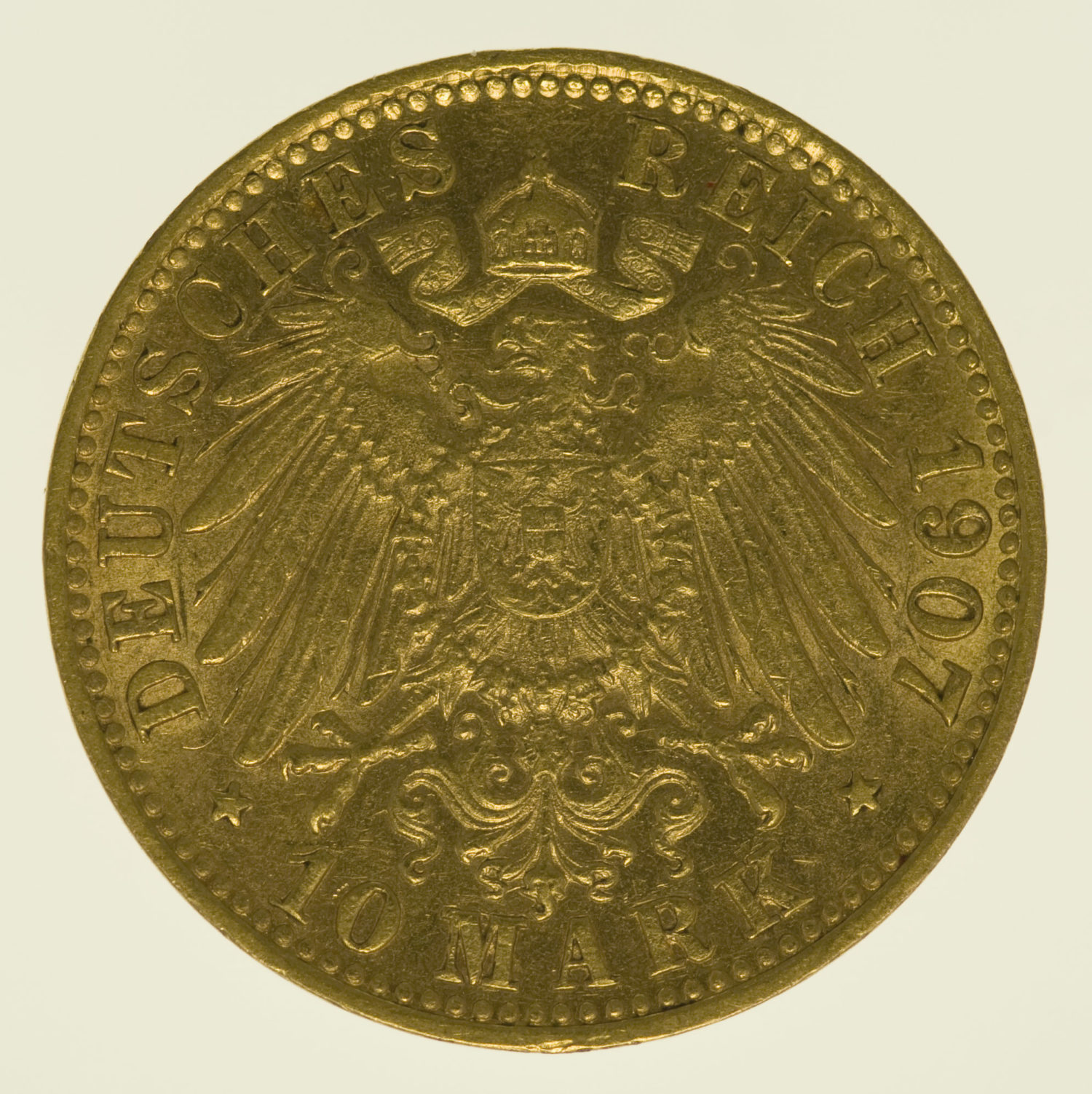 deutsches-kaiserreich-ab-1871 - Hamburg Stadtwappen 10 Mark 1907