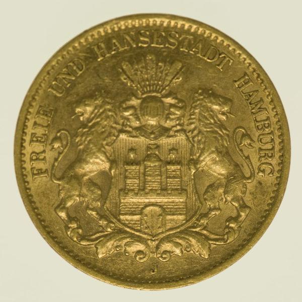 deutsches-kaiserreich-ab-1871 - Hamburg Stadtwappen 10 Mark 1907