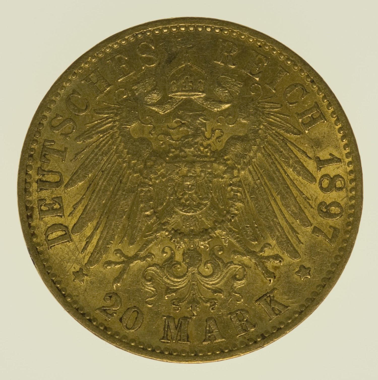 deutsches-kaiserreich-ab-1871 - Hessen Ernst Ludwig 20 Mark 1897