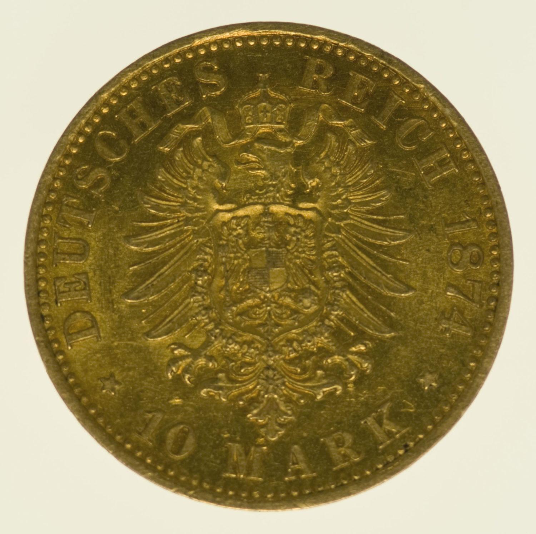 deutsches-kaiserreich-ab-1871 - Preussen Wilhelm I. 10 Mark 1874 B