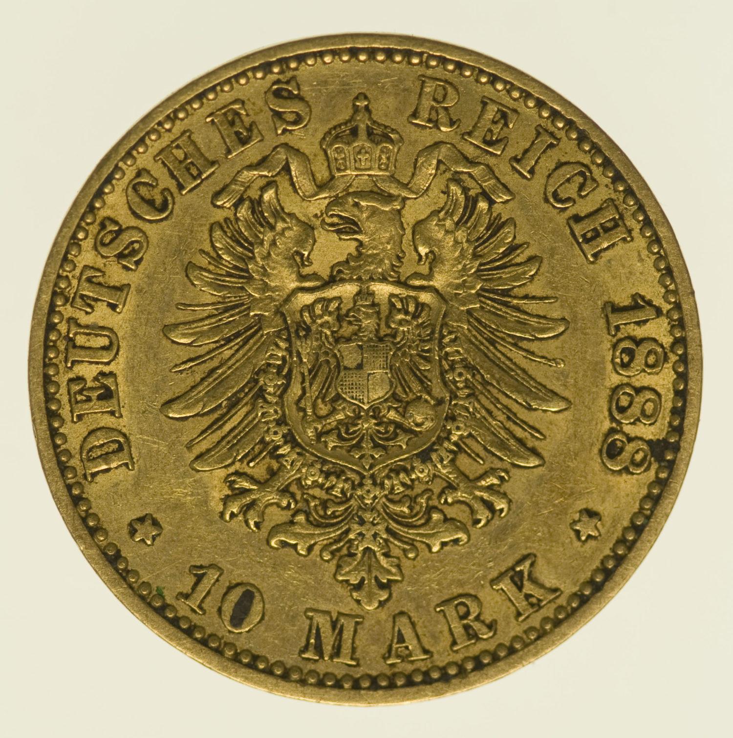 deutsches-kaiserreich-ab-1871 - Preussen Wilhelm I. 10 Mark 1888 A