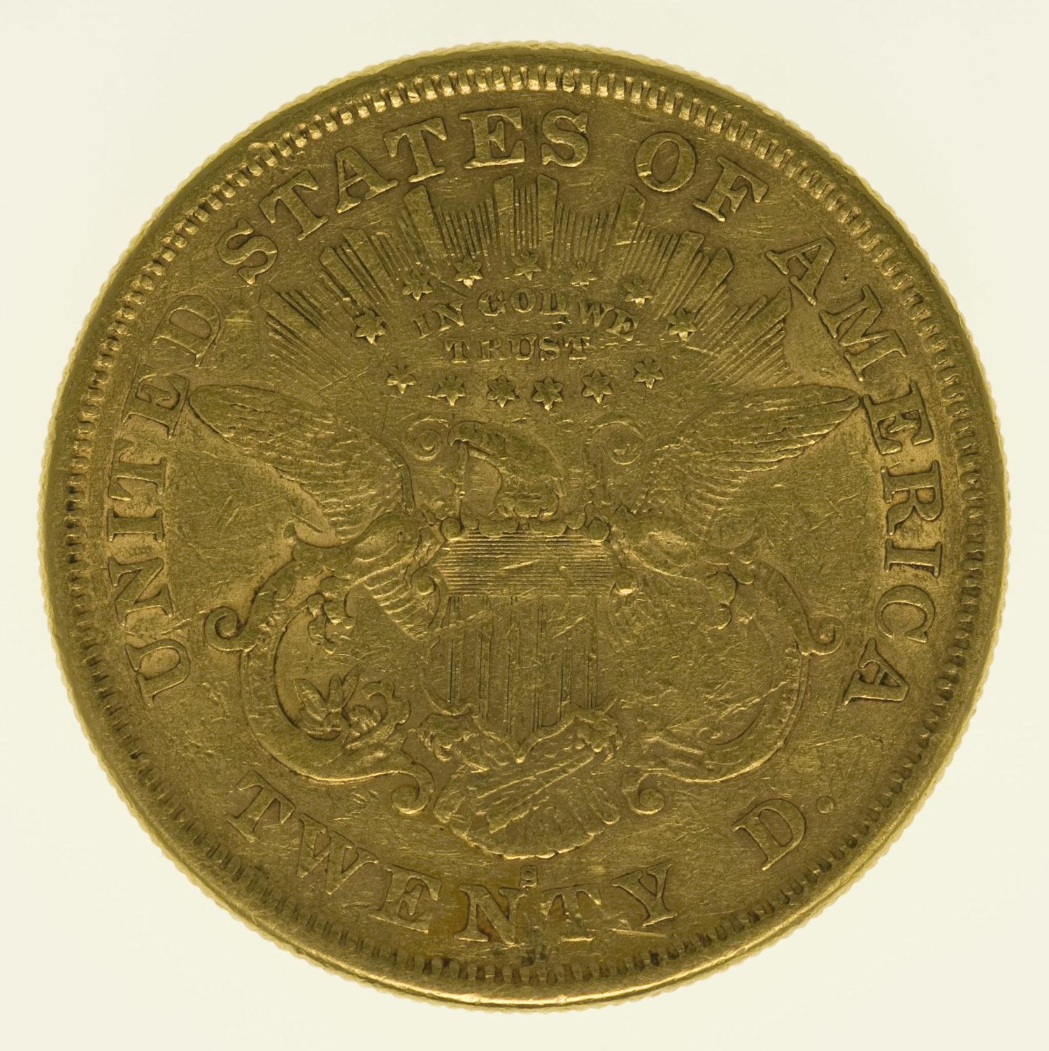 usa - USA 20 Dollars 1875 S Liberty / Kopf