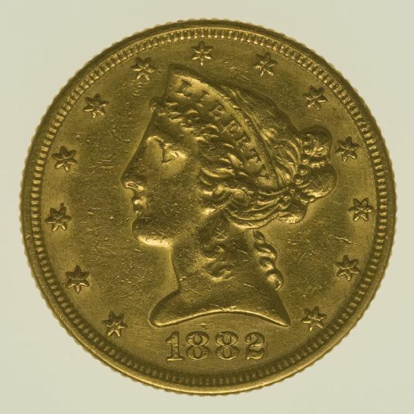 usa - USA 5 Dollars 1882 Liberty / Kopf