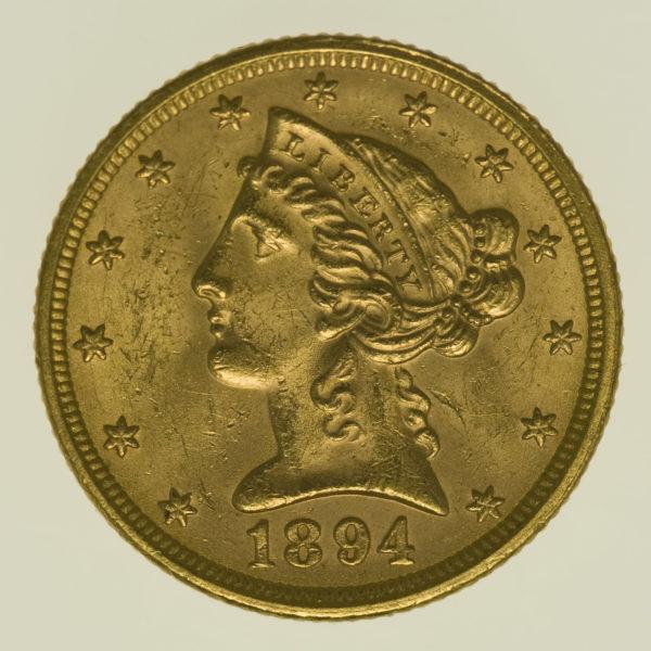 usa - USA 5 Dollars 1894 Liberty / Kopf