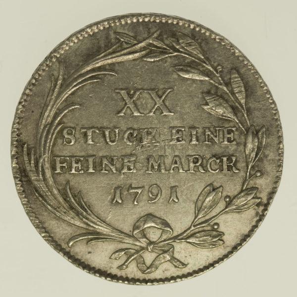 altdeutschland-deutsche-silbermuenzen - Frankfurt Stadt 1/2 Konventionstaler 1791