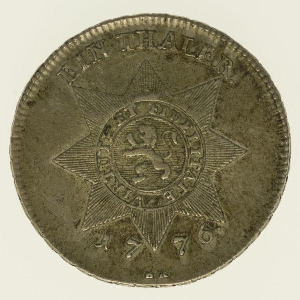 altdeutschland-deutsche-silbermuenzen - Hessen Kassel Friedrich II. Taler 1776 BR