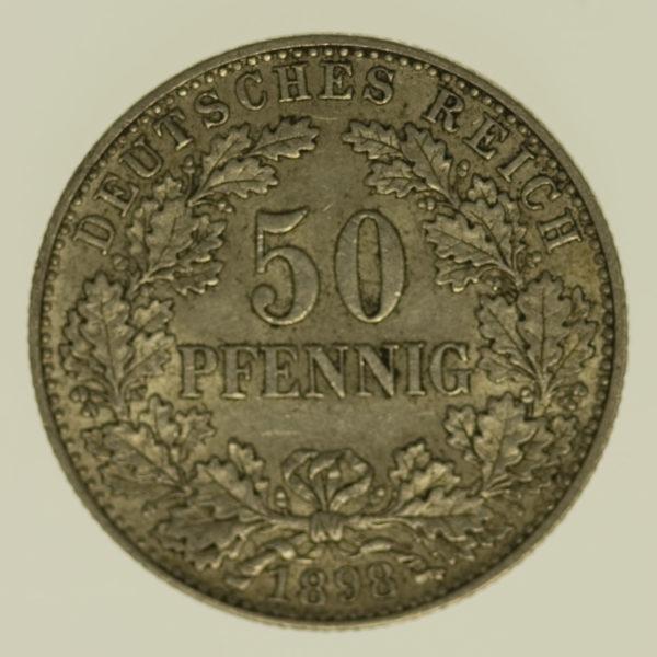deutsches-kaiserreich-ab-1871-deutsche-silbermuenzen - 50 Pfennig 1898 A