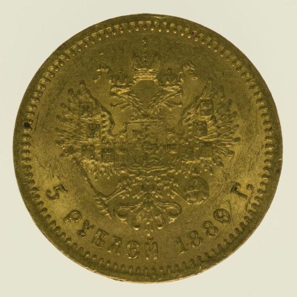 russland - RusslandAlexander III. 5 Rubel 1889
