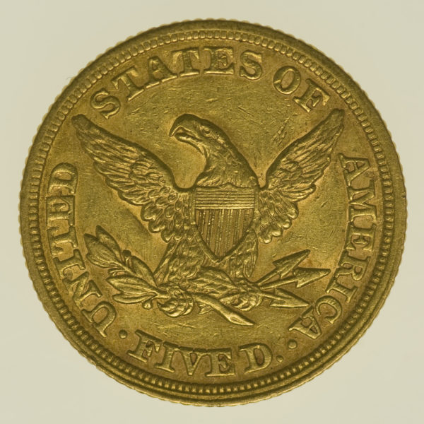 usa - USA 5 Dollars 1852 Liberty / Kopf