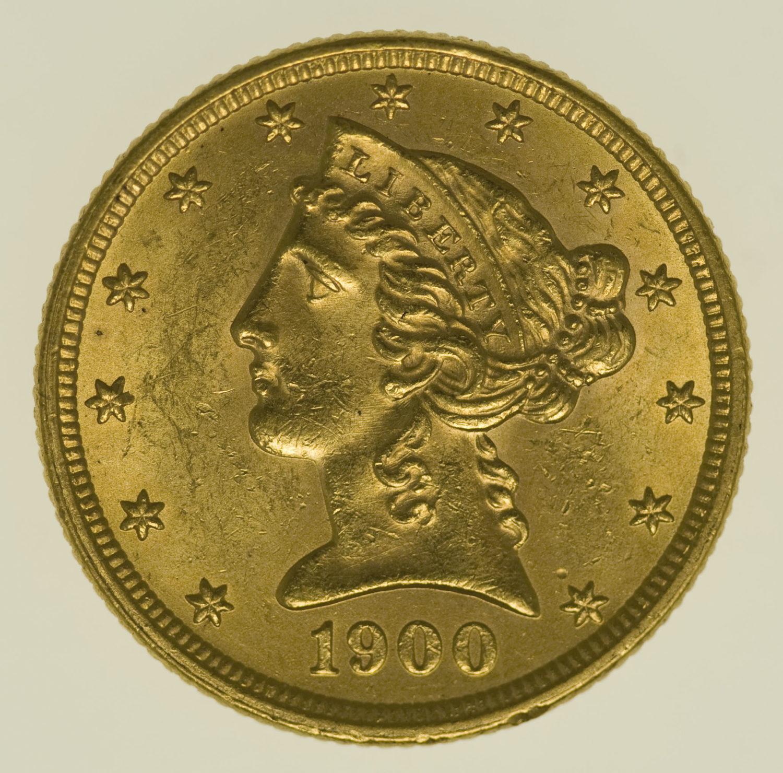 usa - USA 5 Dollars 1900 Liberty / Kopf