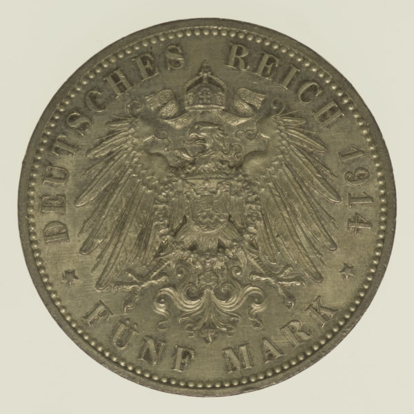 deutsches-kaiserreich-ab-1871-deutsche-silbermuenzen - Anhalt Friedrich II. 5 Mark 1914