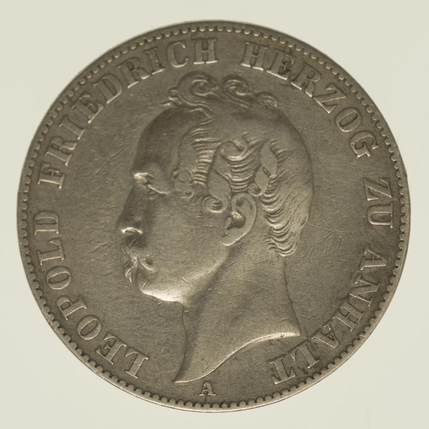 altdeutschland-deutsche-silbermuenzen - Anhalt Dessau Leopold Friedrich Vereinstaler 1858