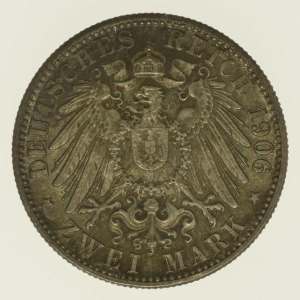 deutsches-kaiserreich-ab-1871-deutsche-silbermuenzen - Baden Friedrich I. 2 Mark 1906
