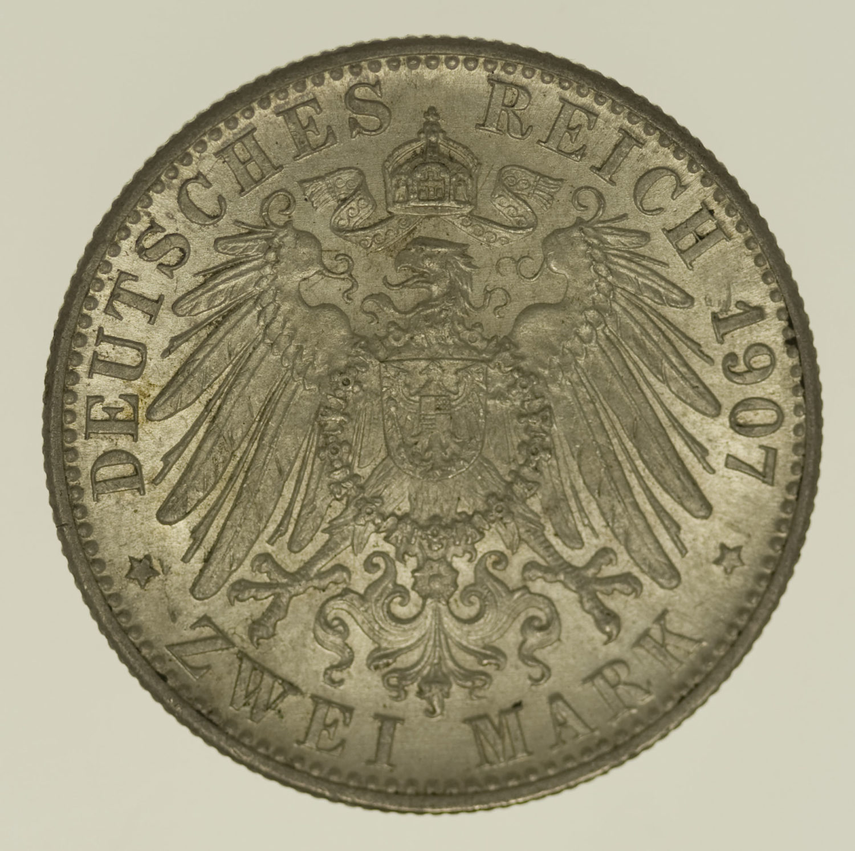 deutsches-kaiserreich-ab-1871-deutsche-silbermuenzen - Baden Friedrich I. 2 Mark 1907