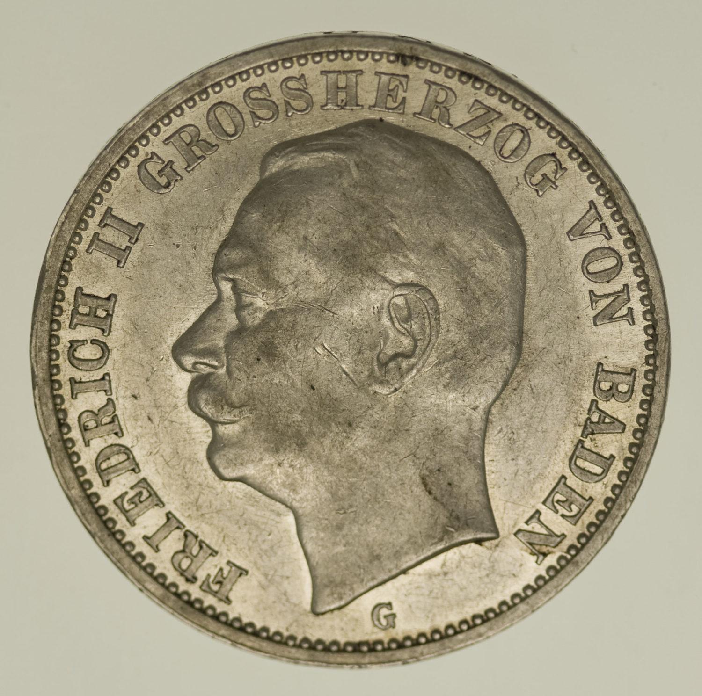 deutsches-kaiserreich-ab-1871-deutsche-silbermuenzen - Baden Friedrich II. 3 Mark 1912
