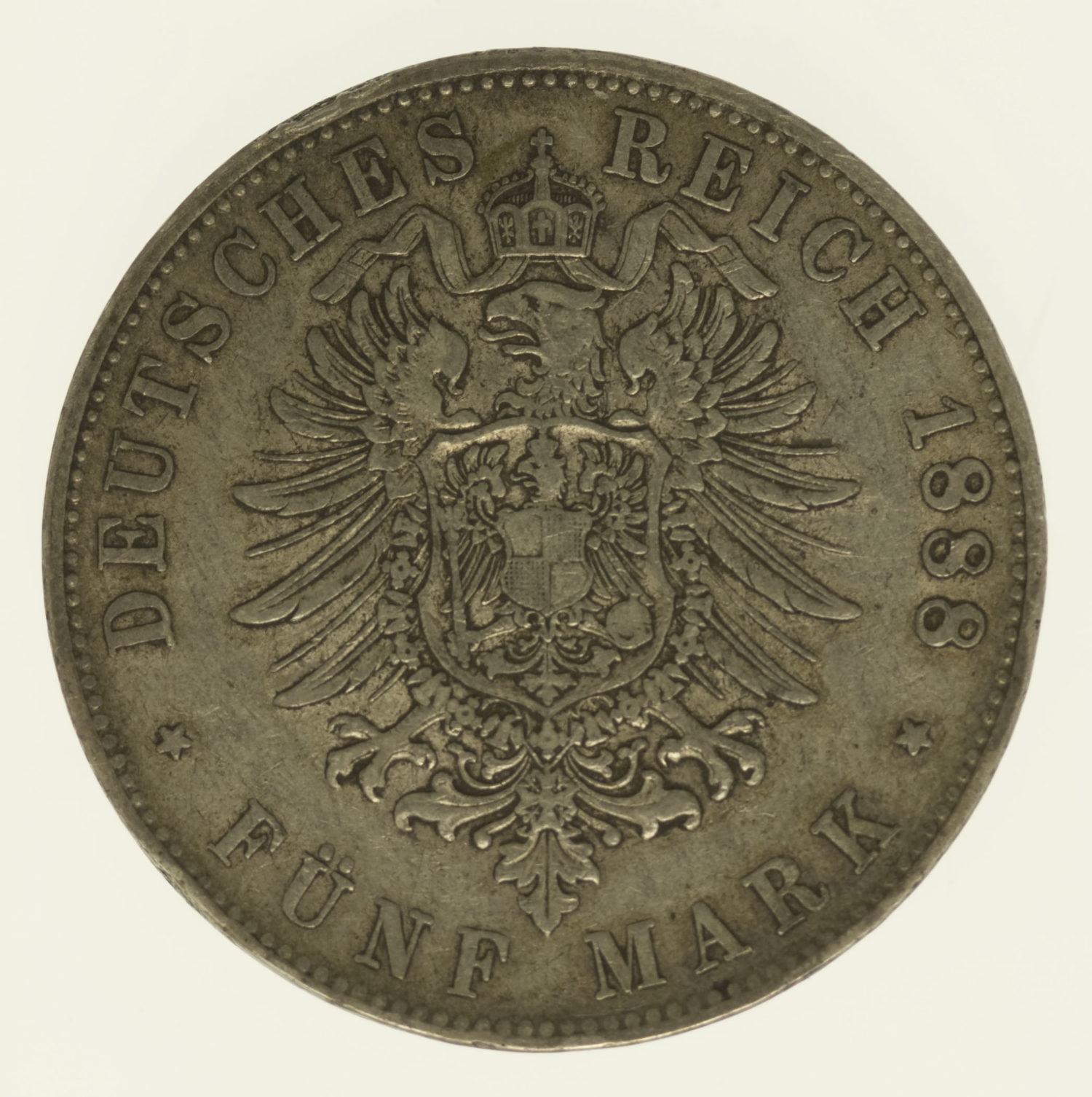 deutsches-kaiserreich-ab-1871-deutsche-silbermuenzen - Baden Friedrich I. 5 Mark 1888