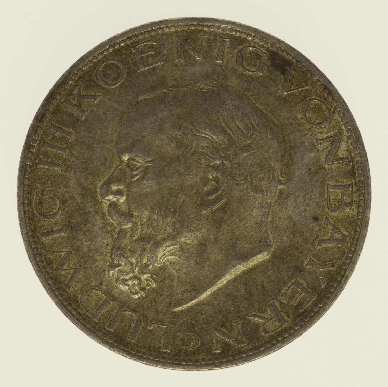 deutsches-kaiserreich-ab-1871-deutsche-silbermuenzen - Bayern Ludwig III. 5 Mark 1914
